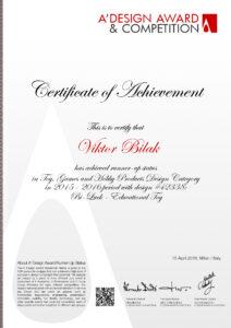 Runner-Up Status A'Design Award 2016, Certificate, Milan, Italy