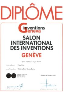 Inventions-Geneva 2021, Winner Certificate, Geneva, Switzerland